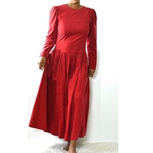 Laura Ashley Vintage Red Holiday Dress Size Small